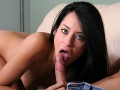 Brunette babe gives one amazing blowjob here!